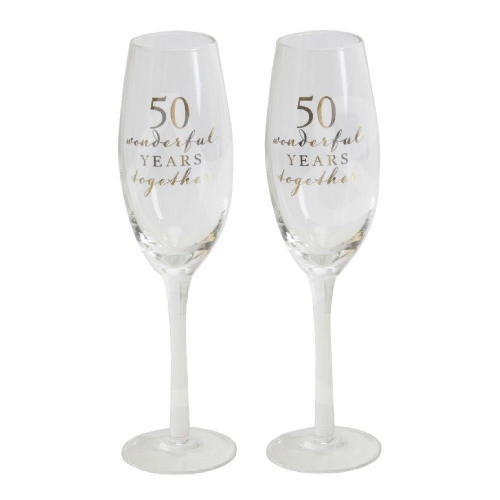 Amore Champagne Flutes Set of 2 - 50th Anniversary